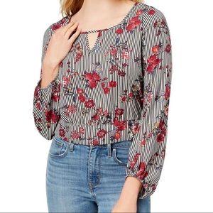 280 BCX floral keyhole tie back blouse